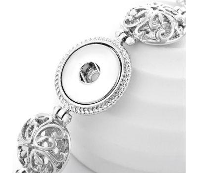 Bratara Interschimbabila Model Floral | Argintiu Vintage | Ajustabila cu 3 capse pentru butoni