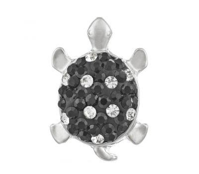 Bijuterie Buton Interschimbabil | Broasca Testoasa Argintiu cu Cristale Albe | Animal | Metal