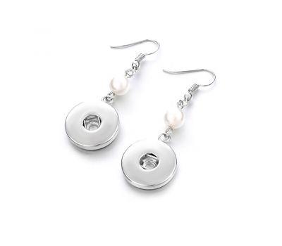 Cercei moderni pentru butoni interschimbabili si perla alba