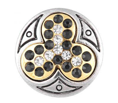 Bijuterie Buton Interschimbabil |  Trifoi Norocos Placat Auriu cu Cristale in 2 Variante | Vintage | Metal