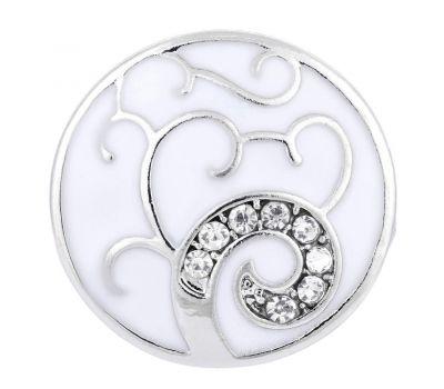 Bijuterie Buton Interschimbabil   Copac Argintiu Pictat Sidefat   Fashion   Metal