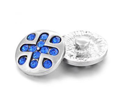 Bijuterie Buton Interschimbabil | Cruce Egala Greceasca cu Cristale Albastre | Fashion | Metal