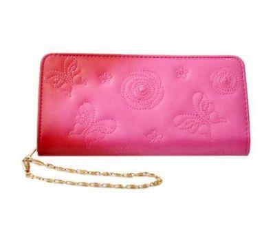 Portofel dama - piele ecologica - imprimeu fluture si cristal - roz ciclam P00251